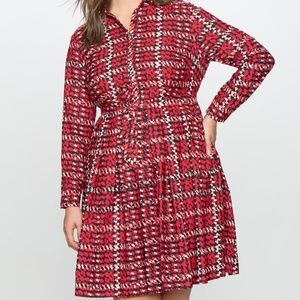 Eloquii Printed Fit and Flare Dress with Waist NEW